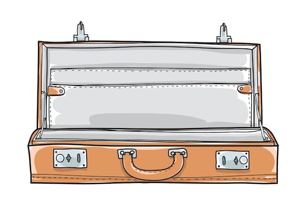 Valise porte-documents vide. vecteur dessiné main vintage