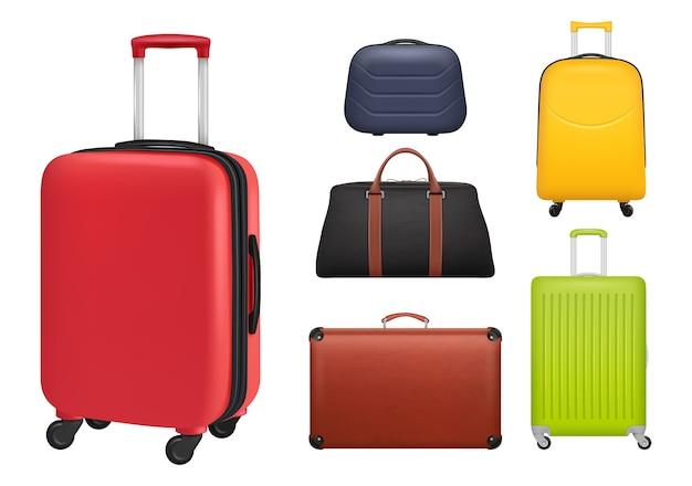 Valise réaliste. les touristes de bagages ont façonné des sacs d'objets colorés pour les voyageurs. illustration bagages et bagages