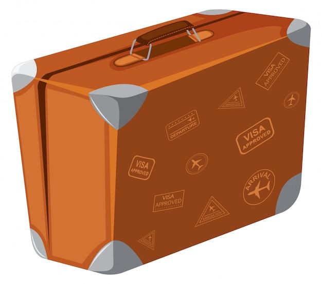 Une valise vintage sur fond blanc