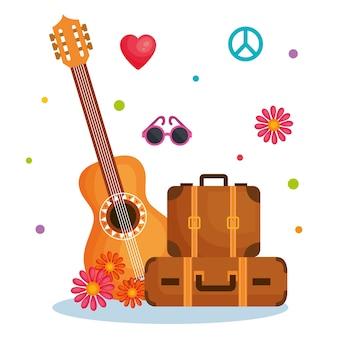 Valises de guitare et autres objets hippies
