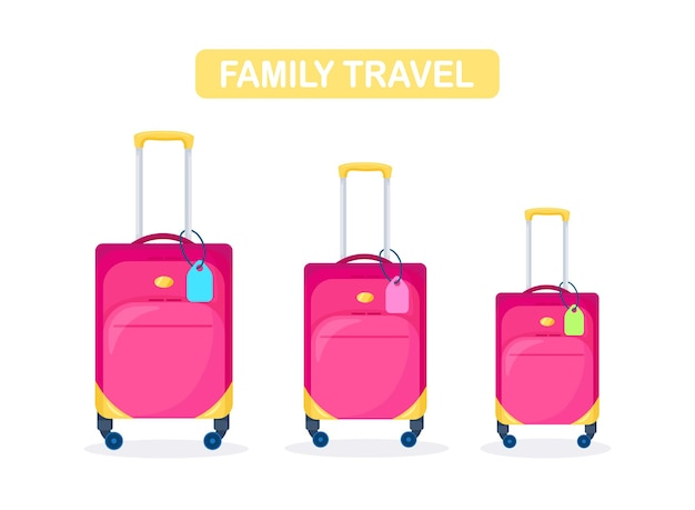 Valises modernes jaunes rouges. bagages pour famille en vacances.