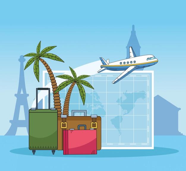 Valises et paumes. conception de voyage du monde