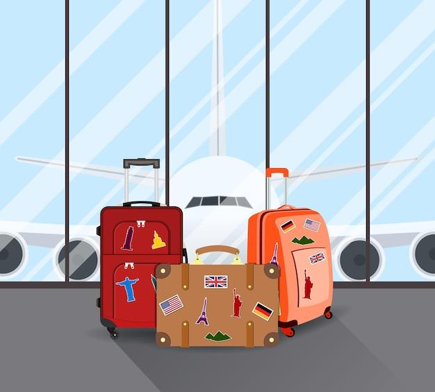 Valises de voyage à l'aéroport
