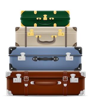 Valises de voyage sur blanc