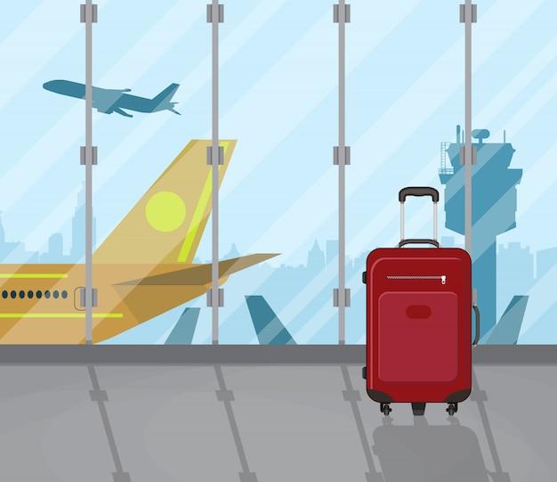Valises de voyage à l'intérieur de l'aéroport