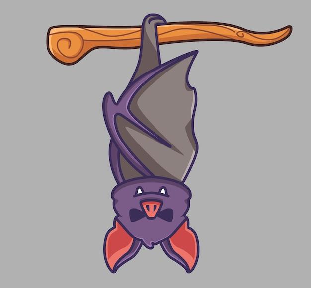 Vampire de chauve-souris mignon dormant sur un animal de dessin animé de branche d'arbre concept d'halloween illustration isolée