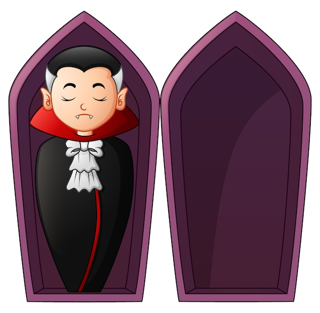 Vampire de dessin animé dans des cercueils ouverts