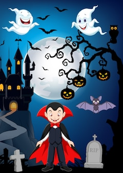 Vampire de dessin animé avec fond d'halloween
