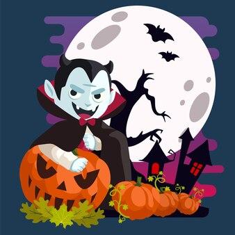 Vampire dracula souriant derrière la citrouille dans la nuit