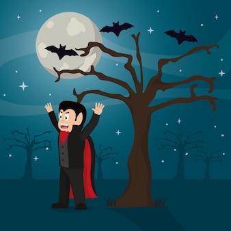 Vampire effrayant avec costume et arbre avec des chauves-souris