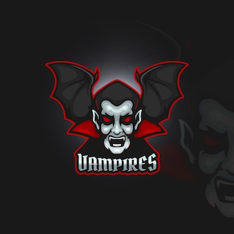 Vampire avec logo esport ailes de chauve-souris