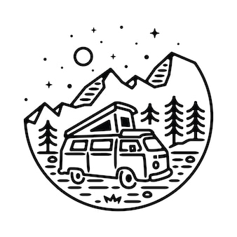Van adventure mountain line graphic illustration art vectoriel t-shirt design