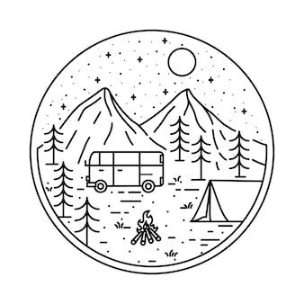 Van camping randonnée escalade montagne nature illustration