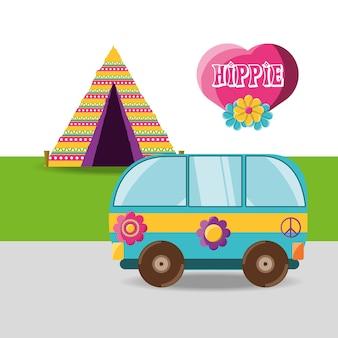 Van avec concept de hippie de fleurs