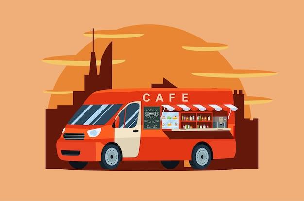 Van foodtrack isolé. café sur roues. illustration.