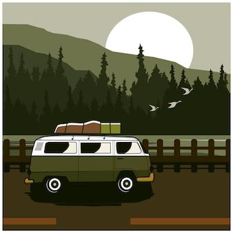 Van sur la montagne