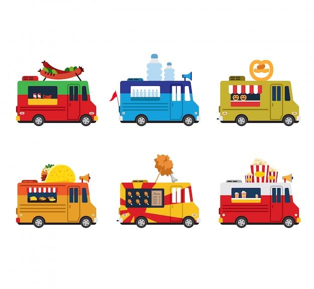 Van avec nourriture, repas sur roues, restauration rapide. icônes de style plat
