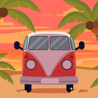 Van sur la plage avec coucher de soleil en été