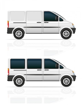 Van pour le transport de fret et passagers vector illustration
