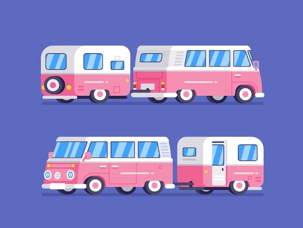 Van rétro classique avec camping-car en illustration de style plat