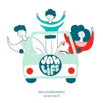 Van travel lifestyle illustration plat dessinés à la main
