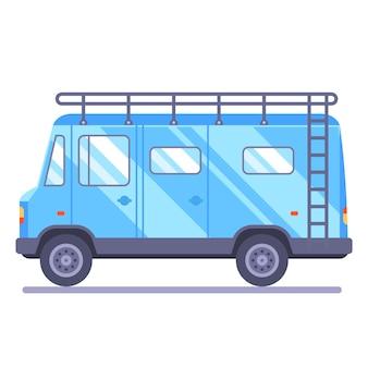 Van de voyage en famille. le transport part en vacances. illustration de wagon plat.