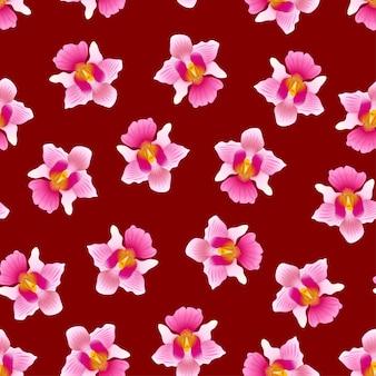 Vanda rose mlle joaquim orchidée sur fond rouge