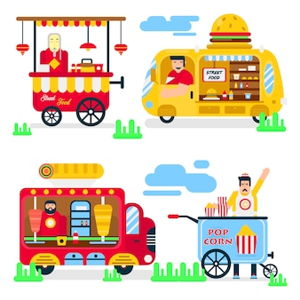 Vans de vendeurs de nourriture de rue ou de fastfood vector icons plats.