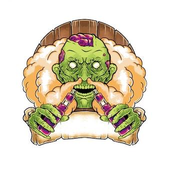 Vape zombie illustration dessinée à la main