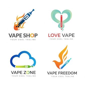 Vaping cigarette branding logo set