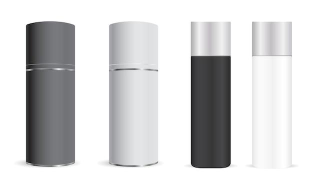 Vaporisateur . bombe aérosol, déodorant cylindrique. blanc de récipient en aluminium pour assainisseur. realisit étain cantiperspirant ou laque pour cheveux. tube métallique avec capuchon en plastique