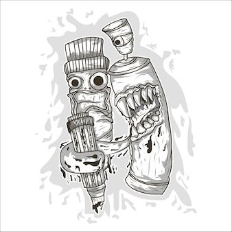 Vaporisateur de graffiti de dessin animé de vecteur