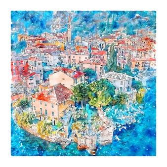 Varenna lac de côme italie illustration aquarelle croquis dessinés à la main