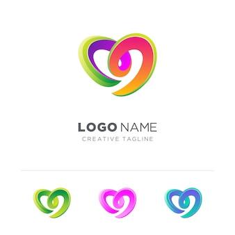 Variation du logo de l'amour coloré abstrait