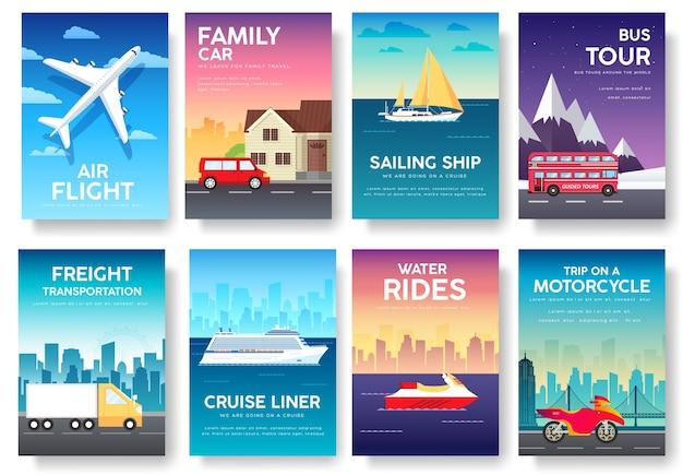 Variations transport du guide touristique de vacances de voyage infographique