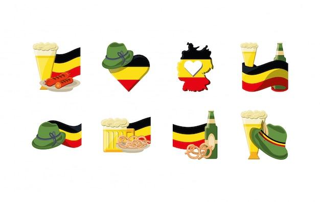 Variété allemagne jeu d'icônes pack