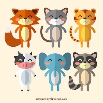 Variété d'animaux souriants avec un design plat