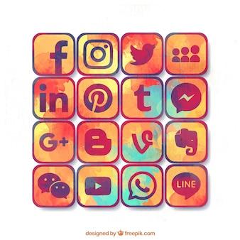 Variété de aquarelle icônes de médias sociaux