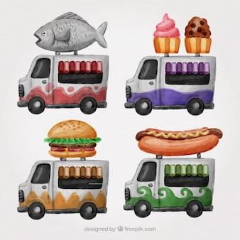 Variété artistique de camions d'aquarelle