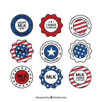 Variété de badges plats pour jour martin luther king