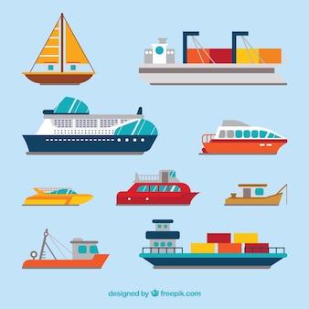 Variété de bateaux en conception plate