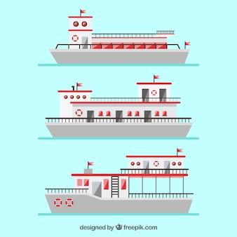 Variété de bateaux plats avec des éléments rouges