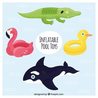 Variété de beaux flotteurs animaux