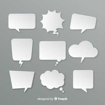 Variété de bulles de chat design plat dans le style de papier