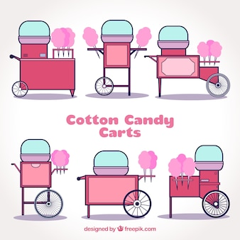 Variété de charrettes en coton rose