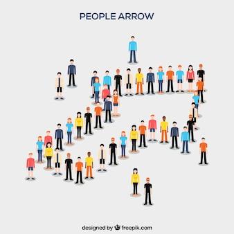 Une variété de citoyens formant une flèche