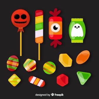 Variété de collection de bonbons halloween plat