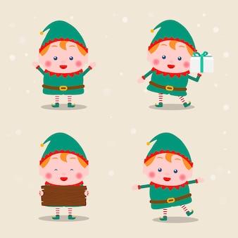 Variété de collection de postures d'elfes de noël