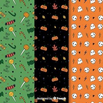 Variété de couleurs modèle sans couture d'halloween