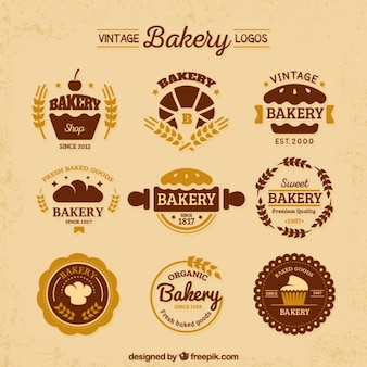 Variété de cru logos de boulangerie plat